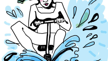 Drawing of woman on scooter