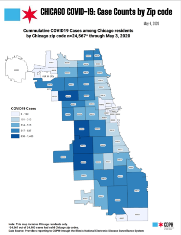 Map of covid19 case rates in Chicago by zip code as of May, 2020